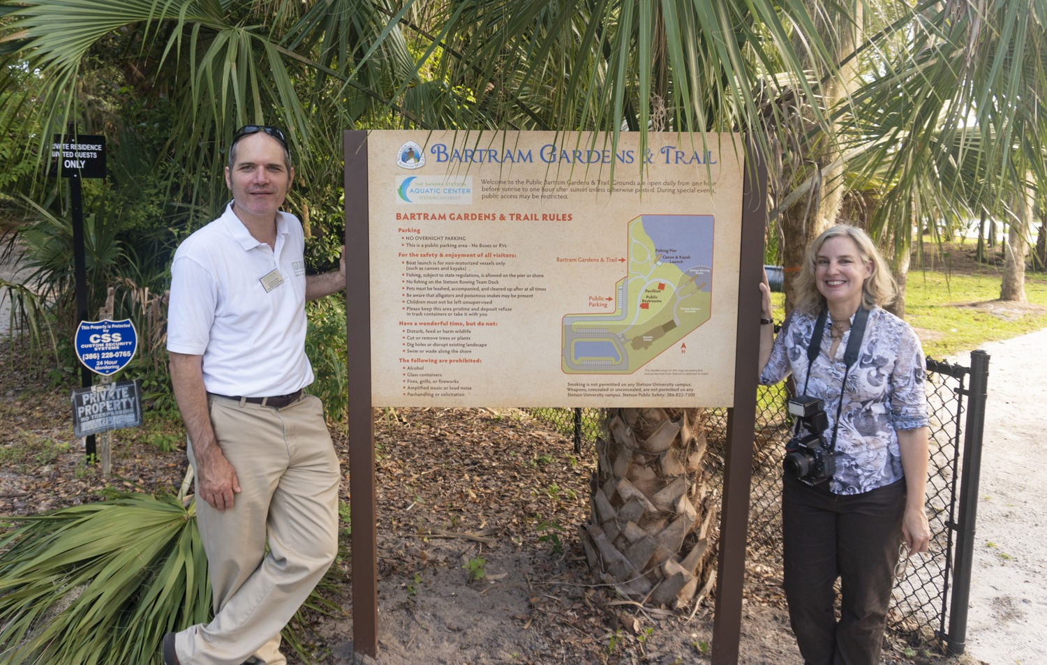Dr. Jason Evans, current chair of the Institute for Water and Environmental Resilience and Stephanie Liskey with the Welcome sign at the public entrance to the Bartram Gardens and Trail.