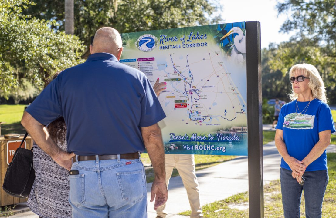 Park visitors checking out the new Bartram in Volusia County Kiosk